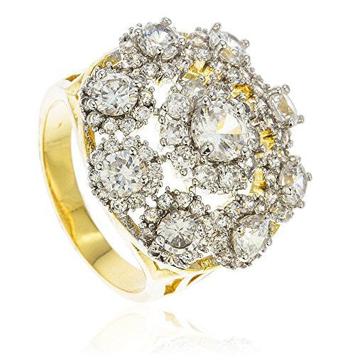 Mens Goldplated Iced Out 'Feels Like Vegas' Ring with Cz Stones