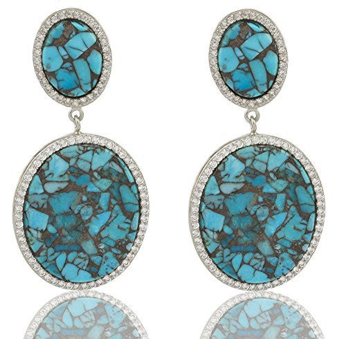 Sterling Silver Stud Earrings Simulated Turquoise 2.5 Inch