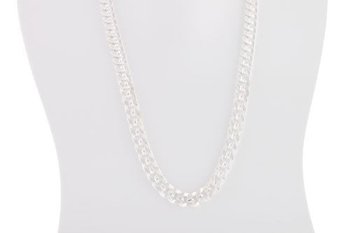 Silvertone 30 Inch Miami Cuban Chain 8mm Necklace