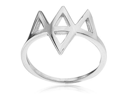 Ladies 925 Sterling Silver Multi Triangles Ring