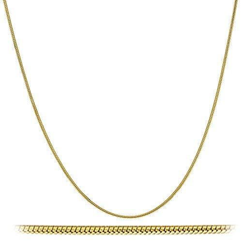 925 Sterling Silver Goldcolored 1mm 8 Sided Snake Chain