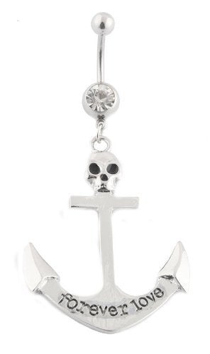 2 Pieces of Silvertone 316L Surgical Stainless Steel Forever Love with Skull Anchor Belly Navel Ring