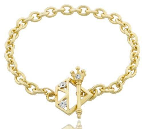 7.5 Inch Crown Toggle Link Bracelet With Stones