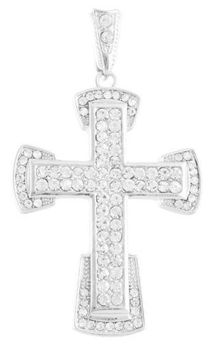 Silvertone with Clear Iced Out Curved Ends Cross Pendant