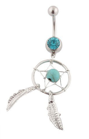 2 Pieces of Silvertone with Turquoise 316l Surgical Stainless Steel Dream Catcher Belly Navel Ring