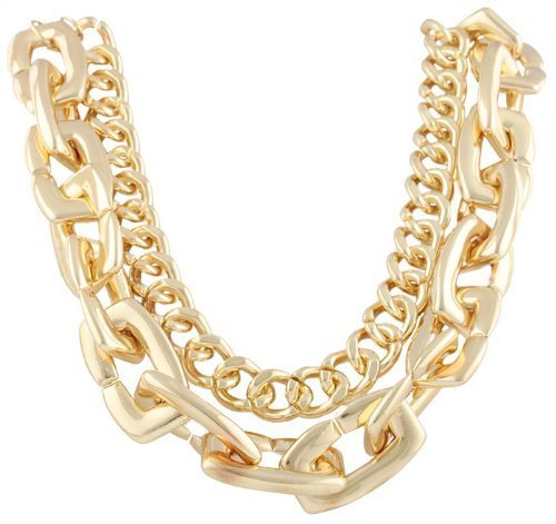 Ladies Goldtone 21 Inch Adjustable Double Cuban and Link Chain Necklace