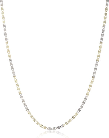 "925 Italy Sterling Silver 2mm Two Tone Valentino Chain- 16"" Or 18"" Available"