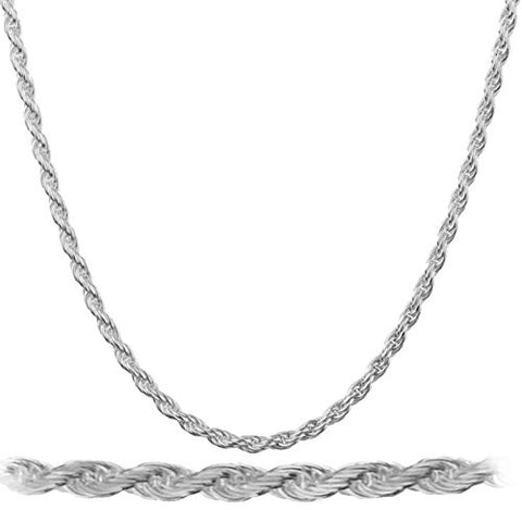 925 Rhodium Plated Sterling Silver 2mm Rope Chain Necklace - All Lengths Available