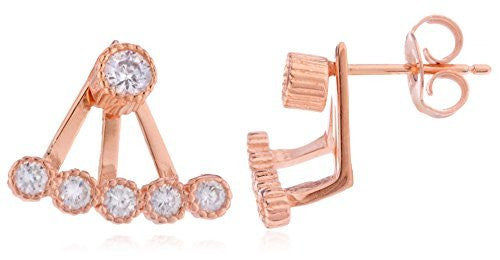925 Rose Gold-Plated Bezel Cubic Zirconia Curved Bar Ear Jacket Stud Earrings