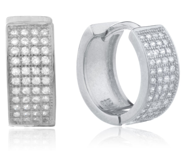 925 Silver Six-row Micro Pave 13.5mm Huggie Earrings With Cz (Rhodium-plated)