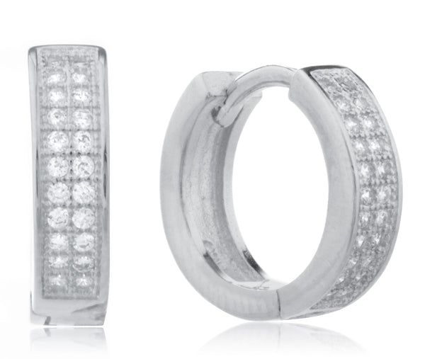 925 Silver Two-row Micro Pave 13mm Huggie Hoop Earrings With Cz - Rhodium-plated
