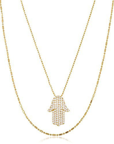 925 Sterling Gold Plated Cz Hamsa Pendant With An 18 Inch Necklace
