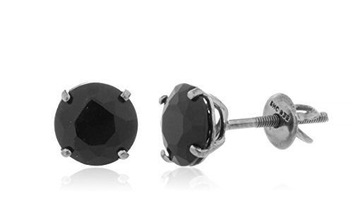 925 Sterling Round Black Cz Stone Stud Earrings (Multiple Sizes Available)