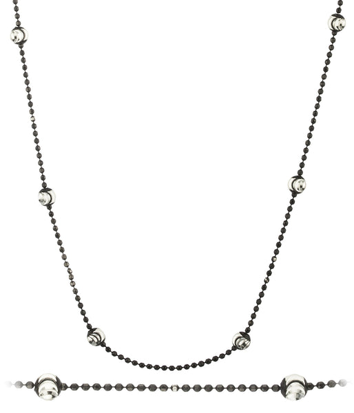 925 Sterling Silver 2.75mm Moon Cut Jet Black Beaded Chain