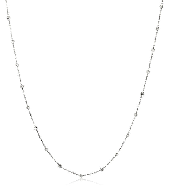 925 Sterling Silver 22 Inch Ball Necklace With Cubic Zirconia Stones