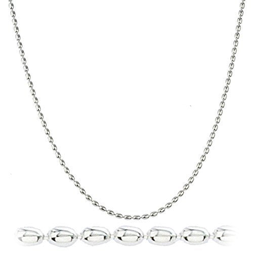 925 Sterling Silver 2mm Oval Beaded Chain
