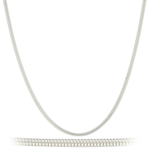 925 Sterling Silver 2mm Real Snake Chain Necklace