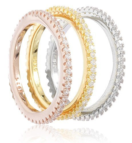 925 Sterling Silver 3 Piece Multi-Color...