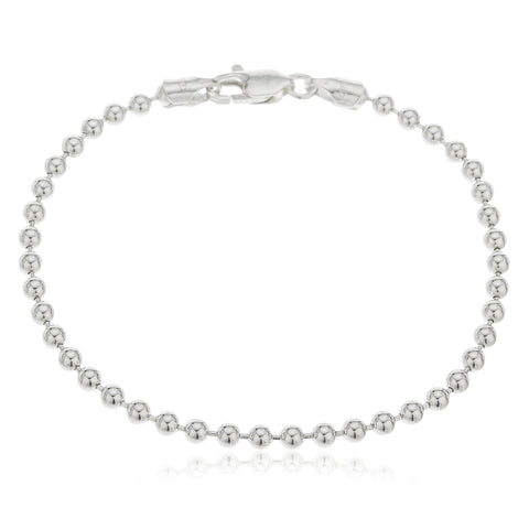 925 Sterling Silver 3mm Ball Bead Chain - Made In Italy