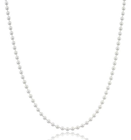 925 Sterling Silver 3mm Beaded Necklace
