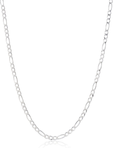 925 Sterling Silver 3mm Figaro Chain - 8 9 10 18 And 20 Available