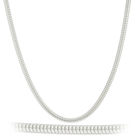 925 Sterling Silver 3mm Real Snake Chain Necklace