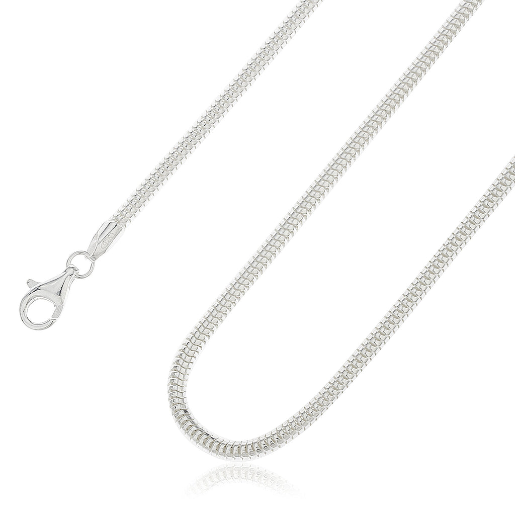 925 Sterling Silver 3mm Real Snake...