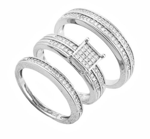 Real 925 Sterling Silver 6mm Square Striped Pave Three Ring Set Sizes 6-9 (7)