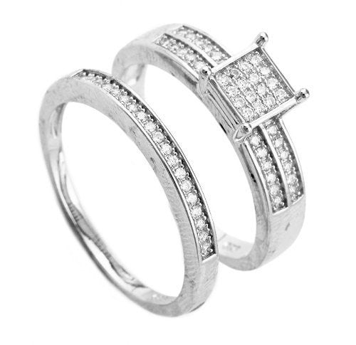 Real 925 Sterling Silver 6mm Square Striped & Ribbed Pave Three Ring Set Sizes 6-9 (7)
