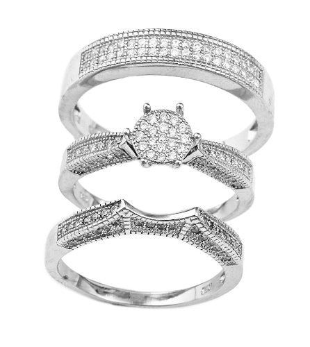 925 Sterling Silver 8mm Round Flat Pave 2 Piece Engagement Ring For Women And Matching Men's Band Ring Set Sizes 6-9