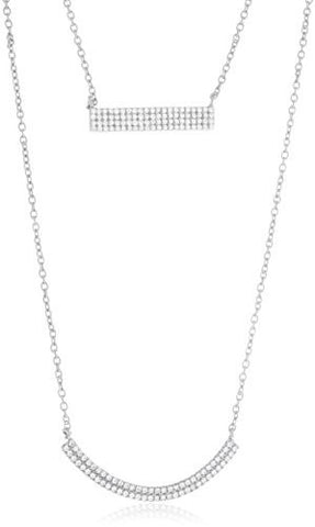 925 Sterling Silver Bar & Crescent Shaped Layered Necklace With Clear Cubic Zirconia Stones