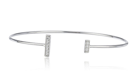 925 Sterling Silver Bar Ends With Cz Stones Cuff Bangle Bracelet (Silvertone)