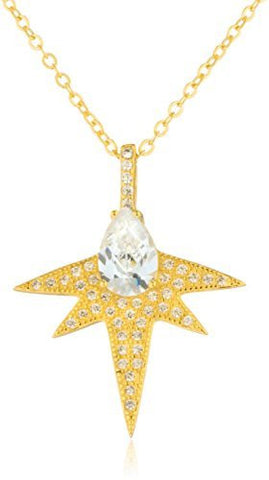 925 Sterling Silver Bright Star Pendant 18.5 Inch Link Necklace