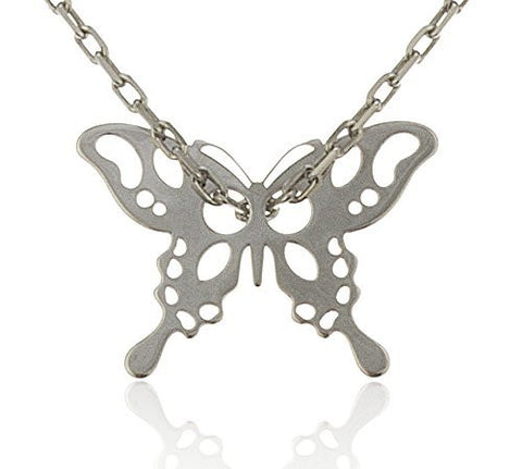 925 Sterling Silver Butterfly Pendant With An 18 Inch Cable Necklace