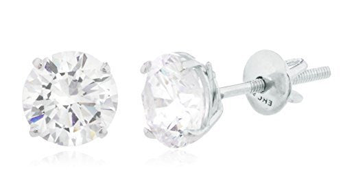 925 Sterling Silver Clear Round Cz Stone Stud Earrings (Multiple Sizes Available