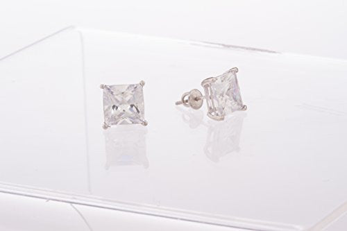 925 Sterling Silver Clear Square Cz...