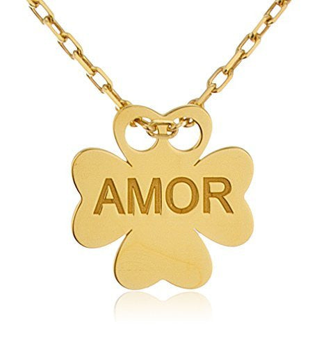 925 Sterling Silver Clover Pendant Engraved With Amor With An 18 Inch Cable Necklace