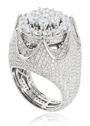 925 Sterling Silver Crown Ring With Cz Stones (Rhodium-plated)