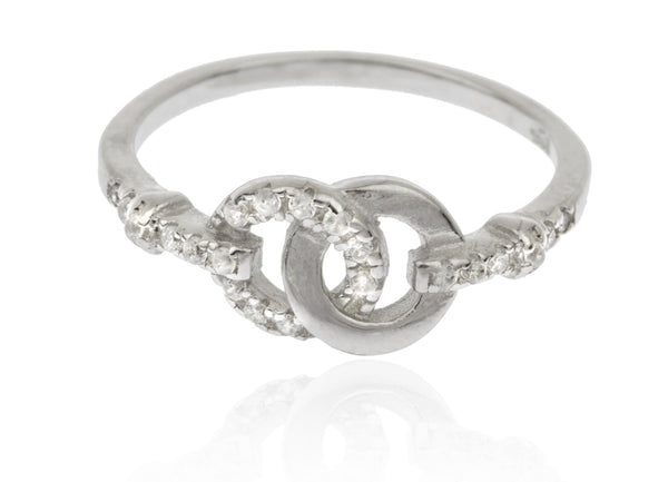 925 Sterling Silver Cubic Zirconia Double Circle Engagement Finger Ring Set