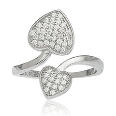 925 Sterling Silver Cubic Zirconia Hearts Ring- Sizes Vary
