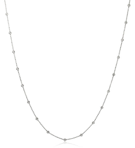 925 Sterling Silver D-Cut And Moon Cut Beaded Chain Necklace - 18 And 20 Available
