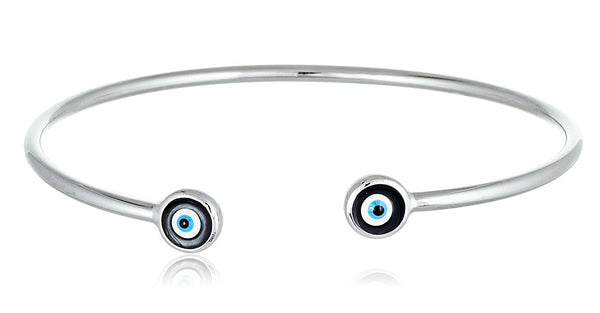 925 Sterling Silver Double Mini Evil Eye Cuff Bracelet