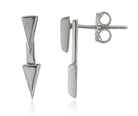 925 Sterling Silver Double Triangle Ear Jacket Stud Earrings - Available In Vermeil And Rhodium