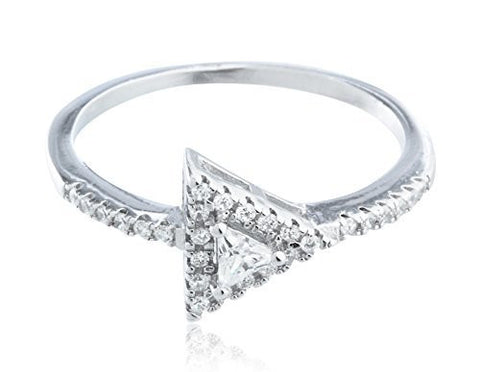 925 Sterling Silver Double Triangle Stone Ring