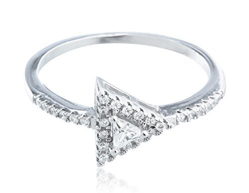 925 Sterling Silver Double Triangle Stone...