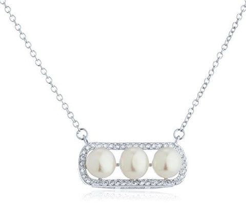 925 Sterling Silver Elegant Boxed Faux Pearls Pendant With Cz Stones Necklace
