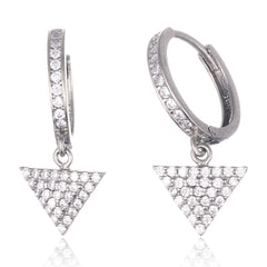 925 Sterling Silver Fancy Huggie Hoop Earrings With Dangling Triangle And Cz