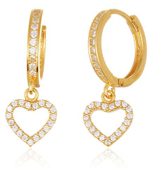 925 Sterling Silver Fancy Huggie Hoop Earrings With Heart Charm And Cz Stones