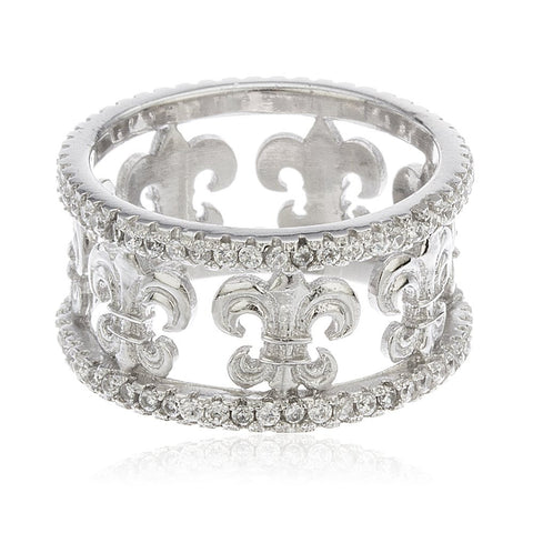 925 Sterling Silver Fleur De Lis Band With Cubic Zirconia Sizes 6-8
