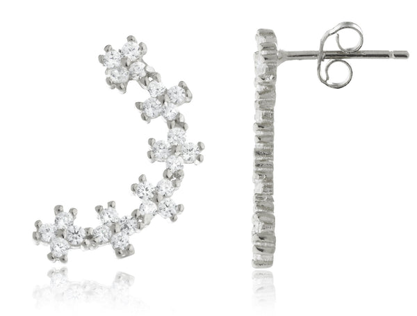 925 Sterling Silver Floral Clusted Ear Crawlers Stud Earrings - Available In Vermeil And Rhodium